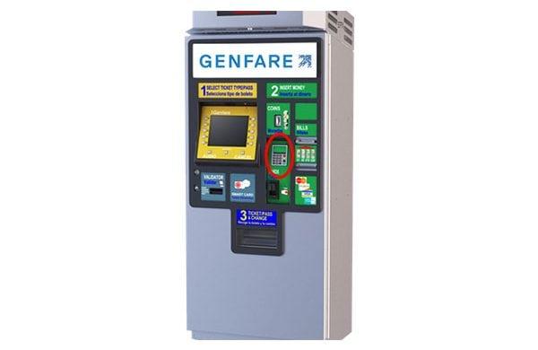 Genfare's rebranded TVM on Vendstar close up product