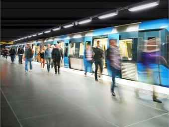 Passengers getting off train