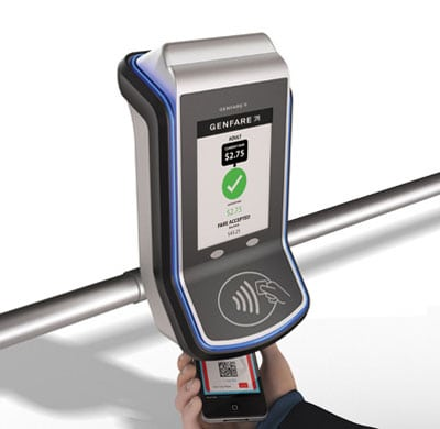 Genfare's Fast Fare-e farebox full product with hand right view