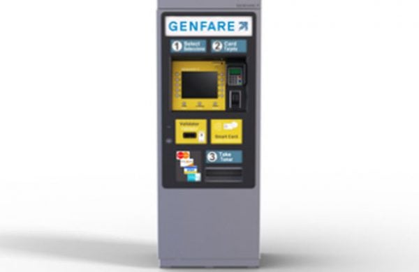 Genfare's Vendstar-e farebox full product facing forward